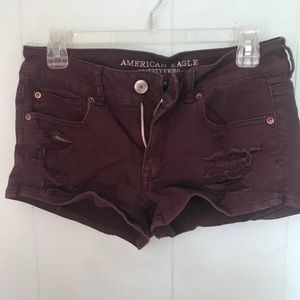 American Eagle Outfitters Shorts - American Eagle Burgundy Distressed shorts SIZE 8
